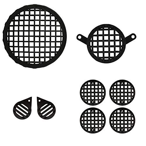 Autofy Checkered Plastic Black Grill for Royal Enfield Bullet Classic 350 & 500 (Black, Set of 8)