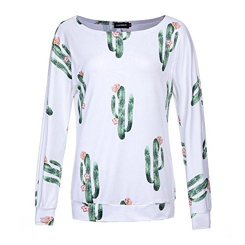 Wangyue Damen Beiläufig Kaktus drucken Langarm Rundhals Hemd Tops Bluse Weiß XL