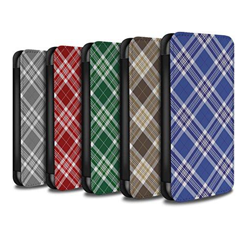 Stuff4 Coque/Etui/Housse Cuir PU Case/Cover pour Apple iPhone 8 / Gris Design / Tartan Pique-Nique Motif Collection Pack 12pcs