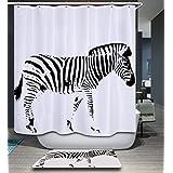kisy cebra tela cortina de ducha baño anti moho repelente al agua de secado rápido 180cm x 180cm para cuarto de baño con 12ganchos de plástico