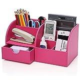 Cosanter kleiner Schreibtisch-Organisierer aus Leder mit 7 Ablagefächern, für Büro 28.00*14.50*14.50cm Rosa
