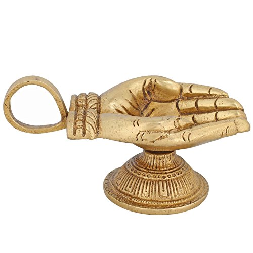 ITOS365 Brass Aarti Diwali Diya Oil Lamp for Puja Home Décor Gift, 4.7 Inches