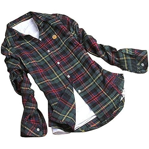 Minetom Mujer Otoño Primavera Patrón De Cuadros Blusa Casual Manga Larga Camisas Botón Tapas