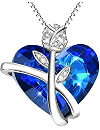Sterling Silver Rose Heart Necklace with Blue SWAROVSKI® Crystals - Valentines Gifts for Her