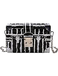 Monique Women Mini Stone Pattern Pu Leather Clutch Box Shopping Evening Party Chain Cross-Body Bag Shoulder Purse...