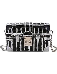 Monique Women Mini Stone Pattern Pu Leather Clutch Box Shopping Evening Party Chain Cross-Body Bag Shoulder Purse...