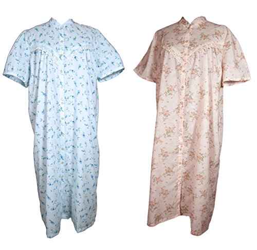 atisa 2 Stück Nachthemden Kurzarm 2002A Gr. 36/38 - Omanachthemd - Mamanachthemd durchgeknöpft besonders geeignet fürs Altersheim oder Krankenhaus (Stück Nachthemd 2)
