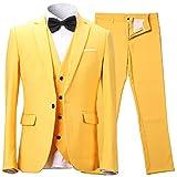 Herren Anzug Slim Fit 3 Teilig mit Weste Sakko Anzughose Business Smoking von Harrms,9 Farben, Größe 46-56