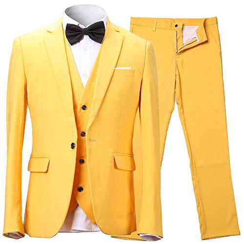 Herren Anzug Slim Fit 3 Teilig mit Weste Sakko Anzughose Business Smoking von Harrms,9 Farben, Größe 46-56 Test