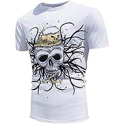 Fascinating T-shirt, Tefamore 2017 nuevos colores creativos del encuentro de Sun cambio de color de ocio de verano de verano de deportes playa blusa camisa de hombre (M, Blanco2)