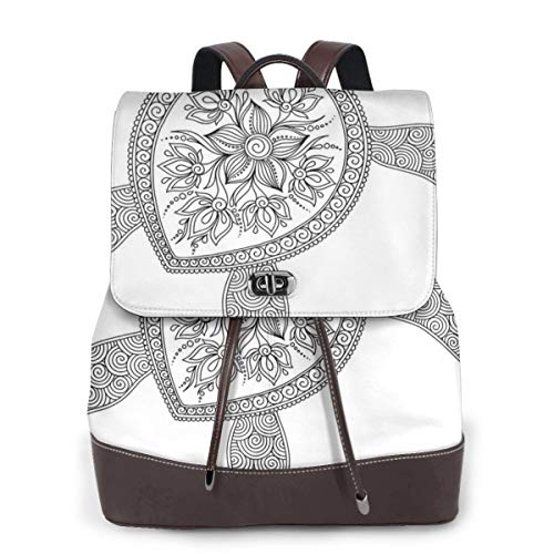 Women's Leather Backpack,Artistic Turtle Figure Henna Mehndi Tattoo Style Doodles Floral Ornaments Asian,School Travel Girls Ladies Rucksack -
