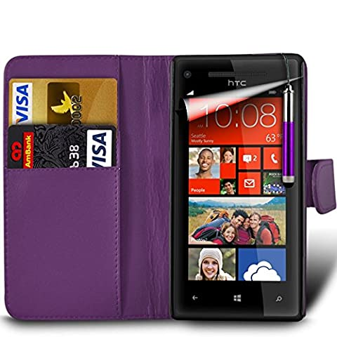 Samsung Galaxy A7 2nd Gen / SM-A717 (2016) Premium PU Leather Wallet Flip Skin Case Cover in DARK PURPLE with RETRACTABLE Capacitive Stylus Touch Screen Pen
