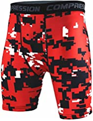 TOOGOO(R) New Running Sport Mens Basketball Tight Compression Shorts Gym Fitness Clothing Training Wicking Short Pants Homme Men(Red black and white point S)