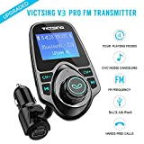 #10: Fm Transmitter for Car, Victsing V3 Pro Bluetooth Radio Transmitter from Phone to Car, Fm Stereo Transmitter Kit for Music, Mp3 Player Fm Modulator with USB 5V 2.1A USB Charger, 1.44 Inch LCD Display, 4 Playing Modes, Wireless Fm Broadcasting, Aux Car Audio Fm Adapter for iphone ipod Android & more Devices , Black