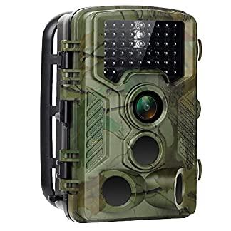 Trail Camera 16MP 1080P HD No Glow Hunting Camera IP56 Waterproof Wildlife Motion Activated Camera with 0.2s Trigger Time IR Night Vision 2.4 inch LCD Screen for Outdoor Nature Animals Surveillance Observation Home Security