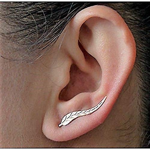 Silber Blatt Ohrringe Moderne Schöne Feder Ohrstecker für Frauen Trend Modeschmuck 2 Stück