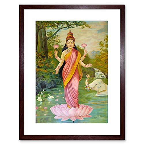 Wee Blue Coo LTD Pittura Varma dea Lakshmi 22,9x 17,8cm stampa artistica con F97x 12882, Brown, 9 x 7 inc - 22.8 x 17.7 cm