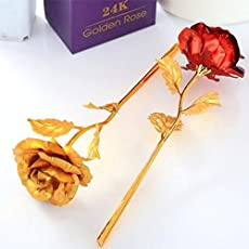 MSA JEWELS Combo of 24K Golden and Red Rose Flowers in Gift Box