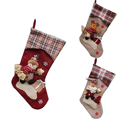 Felice anno nuovo da appendere calze di natale calze regalo filler cartoon babbo natale pupazzo di neve elk decorazione natalizia, 3pezzi, elk+snowman+santa claus, 22.5cm x 46 cm x 26.5cm
