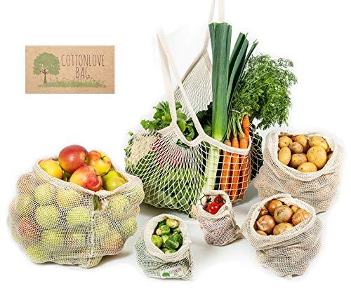 CottonLoveBag-Gemüsebeutel, Obstbeutel 5+1 SET, Baumwolle- wiederverwendbar, umweltfreundlich, ökologisch, Einkaufsnetz, Obstnetz, Gemüsenetze, Einkaufsbeutel, plastikfrei