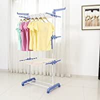 Hifeel Clothes airer indoor, Foldable drying rack for home, 3 Layers Stand airer dryer, washing airer indoor with wheels