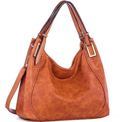 JOYSON Handtasche Damen Umhängetasche Schultertasche Crossbody PU Leder Hobo Tasche Damen Handtasche für Frauen (L39cm * W16cm * H29cm) Braun (Leder Damen Hobo Handtasche)