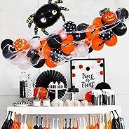 58 packs of Halloween balloon arch garland set-black orange balloons and spider web pumpkin balloons suitable