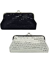 """Oyachic 2 Packs Coin Pouch Cell Phone Purse Sequin Clasp Closure Wallet Great Gift 7.1""""L X 3.5"""" H ( White And..."""