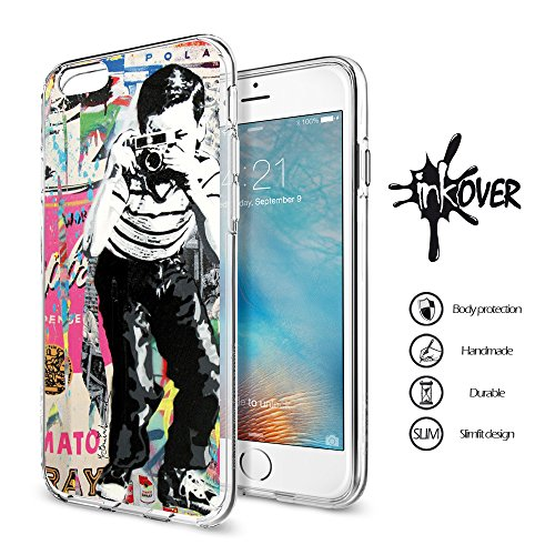 Cover iPhone 6 / 6S PLUS - INKOVER - Custodia Cover Protettiva Guscio Soft Case Bumper Trasparente Sottile Slim Fit Tpu Gel Morbida INKOVER Design Pirati Pirates Corsaro Teschio SKULL per APPLE iPhone STREET ART 3