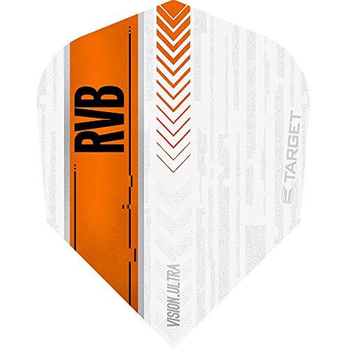 Raymond van Barneveld Vision Ultra Dart Flights-Target Nr. 6Form Weiß & Orange-5sets (15)-mit Darts Ecke gebogen Kugelschreiber