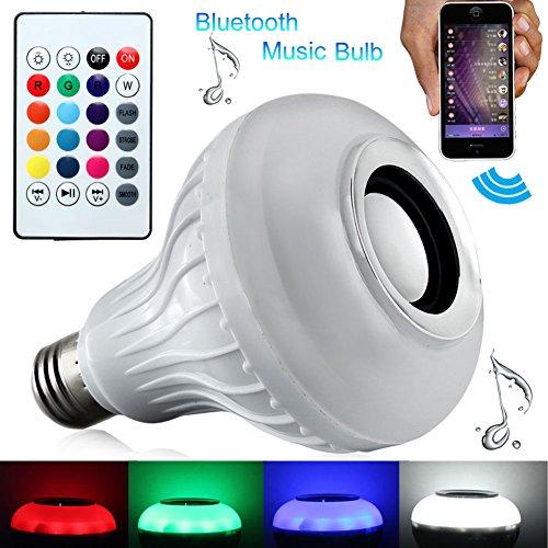 IDEAPRO Smart bombilla E27, intensidad regulable 12W RGBW inalámbrico Bluetooth Altavoz Bombilla Música luz LED lámpara con 24teclas mando a distancia