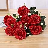 Jun7L Rosen 10 Stück Real Touch Schöne Echtes Moisturizing Curling Knospe Latex künstliche Rose Kunstblumen Blume Dekoration Blumenstrauß Blumenarrangement- Rot 50CM