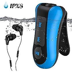 AGPTEK Lecteur Mp3 Etanche IPX8 S12E, 8Go Baladeur Mp3 Waterproof pour Natation (Piscine) et Sports, Caque Etanche et Bouchons d'oreilles Inclus-Bleu