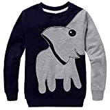 LitBud Bimbo Bambini e Ragazzi Elefante Felpe per Kid Toddler Halloween Pullover Casual T Autunno Shirt Jumpers Top Taglie 5-6 Anni Black