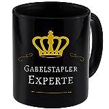 Tasse Gabelstapler Experte schwarz