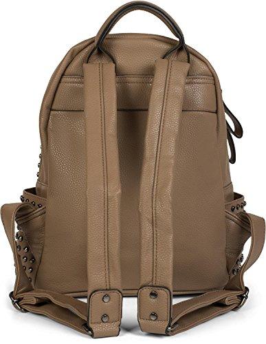 Stylebreaker Rucksack Handtasche Mit Nieten Reissverschluss Tasche