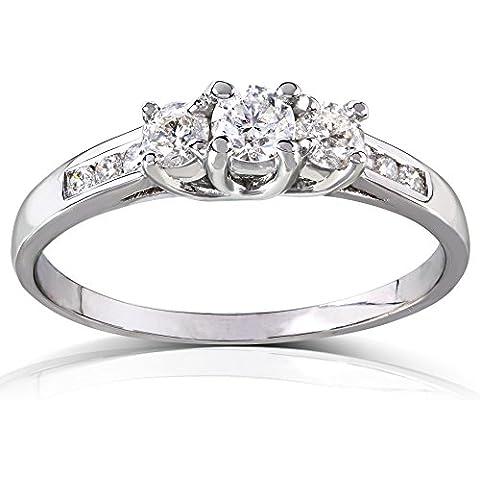 Redondo brillante tres piedra diamante anillo de compromiso 2/5quilates (de quilate) en 14K blanco o de oro