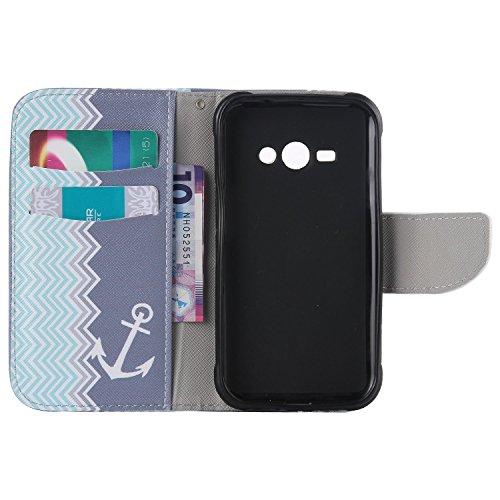 Coque pour Apple iPhone 5C,Housse en cuir pour Apple iPhone 5C,Ecoway Colorful imprimé étui en cuir PU Cuir Flip Magnétique Portefeuille Etui Housse de Protection Coque Étui Case Cover avec Stand Supp KT ancre de forme d'onde
