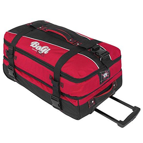 BoGi Bag Reisetasche Rollkoffer Reisekoffer Koffer, 72 cm, 85 L, Dunkelblau/Blau Rot Schwarz