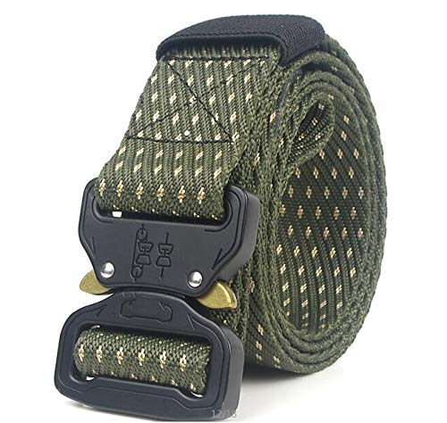 ZHYAODAI The Army Special Forces Military Tactical Nylon Straps Mens Swat Combat Automatic March Metal Buckle Jeans Designer Belt, Single Belt, 125Cm.