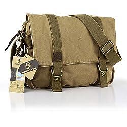 Pellor - Lona + cuero bolso mensajero bolsa para hombre bolso de escuela