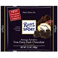 Ritter Sport Extra Fine Dark Chocolate 73% (3.5Oz) (Pack of 8) by Ritter Sport