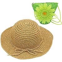 YOPINDO Sombrero de Paja niños niñas Sombrero Monedero Conjunto Sombrero de Paja Sol Floppy Summer Beach