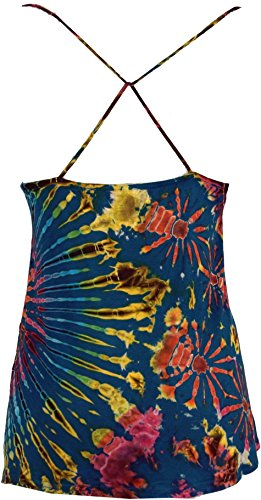 Guru-Shop Batik Hippie Top, Damen, Synthetisch, Size:38, Tops, T-Shirts, Shirts Alternative Bekleidung Blau
