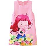 Digood Baby Kids Girls Cartoon Floral Print Princess Cute Dress Casual Clothes Dress (2-3 Years Old
