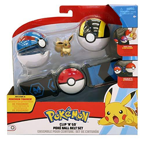 Lively Moments Pokemon Gürtel für Kinder mit Pokebällen & Figur Evoli / Kindergürtel für Pokebälle / Spielzeug (Pokemon Pokeball Mit Pokemon)