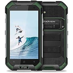 Blackview 4G Téléphone Portable Étanche, BV6000S IP68 Smartphone Antichoc et Antipoussière, Débloqué Téléphone 2 Go RAM + 16Go ROM avec Appareil Photo 8MP + 2MP, Doube SIM Mico/NFC/GLONASS, Verts