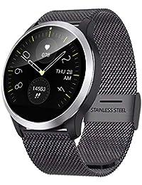 QKa Big Screen Smart Watch mit Blutdruck-Herzfrequenzmonitor Einstellbare Helligkeit Edelstahl-Armband Smartwatch IP68