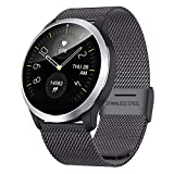 QKa Big Screen Smart Watch mit Blutdruck-Herzfrequenzmonitor Einstellbare Helligkeit Edelstahl-Armband Smartwatch IP68,Schwarz