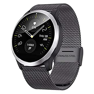 QKa-Smart-Watch-mit-Blutdruck-Herzfrequenzmessgert-und-EKG-Wiedergabediagramm-einstellbare-Helligkeit-Edelstahl-Armband-Smartwatch-IP68